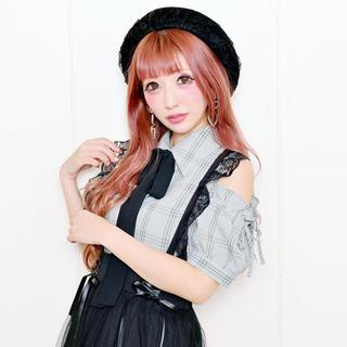 マーズ(MA*RS)の♡専用♡MA*RS シフォンリボン付肩あきチェクシャツ(シャツ/ブラウス(半袖/袖なし))