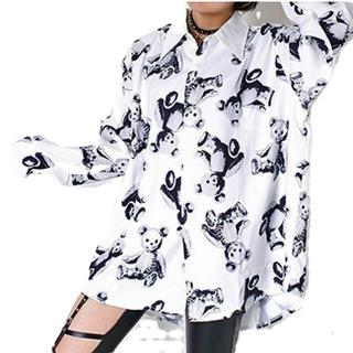 ファンキーフルーツ(FUNKY FRUIT)のドラハニ☆スケルトンテディ総柄オーバーサイズシャツ(シャツ/ブラウス(長袖/七分))