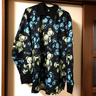 ファンキーフルーツ(FUNKY FRUIT)のドラハニ☆FUCKスケルトンテディ総柄オーバーサイズシャツ(シャツ/ブラウス(長袖/七分))