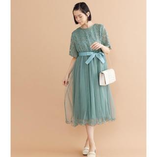 メルロー(merlot)の【新品】レースチュール ドレス(ミディアムドレス)