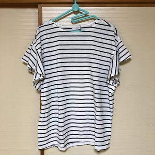 エニィファム(anyFAM)の⭐︎新品タグ付!any FAM  TフレアブラウスTシャツ XLサイズ⭐︎(Tシャツ/カットソー(半袖/袖なし))