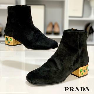 プラダ(PRADA)の1665 美品 プラダ スエード ヒールビジュー ショートブーツ 黒(ブーツ)
