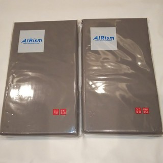 ユニクロ(UNIQLO)のM グレー 2枚セット エアリズム 枕カバー ユニクロ(シーツ/カバー)