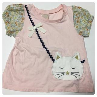 プティマイン(petit main)のプチマイン 100cm 女の子 Tシャツ花柄ピンク(Tシャツ/カットソー)