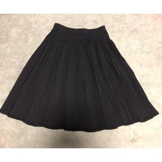 ヨンドシー(4℃)の4°C  スカート プリーツ 透け感 黒 (ひざ丈スカート)
