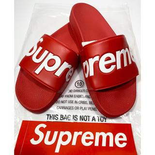 シュプリーム(Supreme)の【確実正規品/新品】シュプリーム ロゴサイドサンダル Red/US10(サンダル)