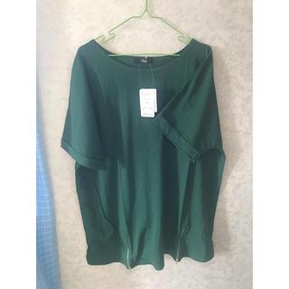 ニッセン(ニッセン)のレディース 大きいサイズ カットソー トップス Tシャツ グリーン 5L(Tシャツ(半袖/袖なし))