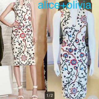 アリスアンドオリビア(Alice+Olivia)のアリスアンドオリビア 膝下丈 刺繍 ワンピース(ロングワンピース/マキシワンピース)