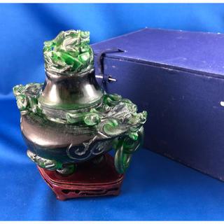 ◆中国美術◆玉石 龍文 香炉 木製台◆化粧箱(彫刻/オブジェ)