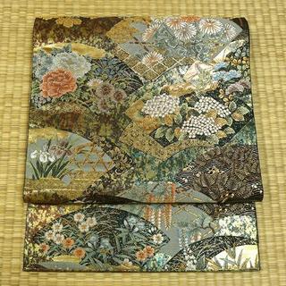 緑と茶色のモザイクに金糸織り扇面 袋帯(帯)