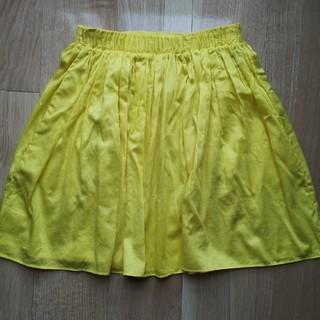 マリメッコ(marimekko)のマリメッコの黄色いフレアスカート ウエストゴム ベアトップ(ひざ丈スカート)