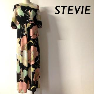 【美品】STEVIE シースルー 花柄ロングワンピース ブラック(ロングワンピース/マキシワンピース)