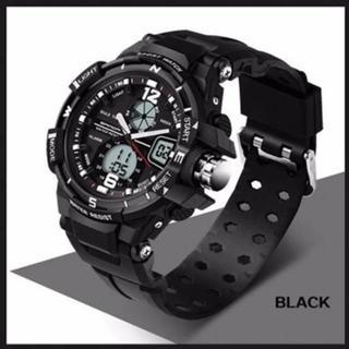 ■2020新入荷■黒 デュアルディスプレイ 防水ダイバーズ ウォッチ(腕時計(デジタル))