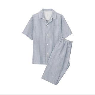 ムジルシリョウヒン(MUJI (無印良品))の無印良品脇に縫い目のない サッカー織り半袖パジャマ 紳士M・ネイビー×ストライプ(その他)
