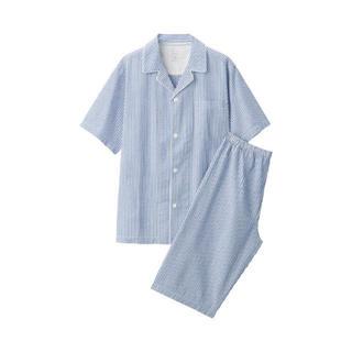 ムジルシリョウヒン(MUJI (無印良品))の無印良品脇に縫い目のない サッカー織り半袖パジャマ 紳士Lブルー×ストライプ(その他)