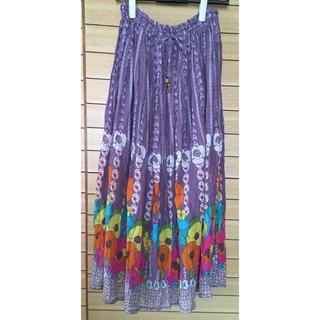 マライカ(MALAIKA)のロングスカート MALAIKA 紫 花柄 エスニック ウエストゴム フリーサイズ(ロングスカート)
