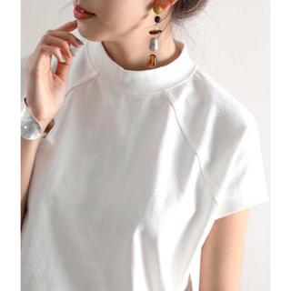 無地ミドル丈クルーネックフレンチラグランモックネックTシャツ(半袖)(Tシャツ/カットソー(半袖/袖なし))