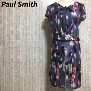 ポールスミス(Paul Smith)のブラックレーベルポールスミス 花柄 総柄 リボン ストレッチワンピース(ひざ丈ワンピース)