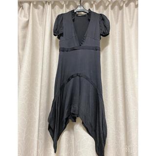 バレンシアガ(Balenciaga)のBALENCIAGAバレンシアガ ワンピース黒ドレス シルク 美品(ひざ丈ワンピース)