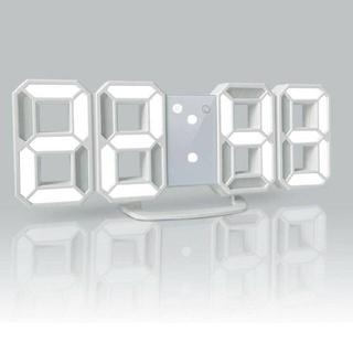 YABAE 置き時計 壁掛け時計 3段階調光 デジタルled 目覚まし時計 白(置時計)