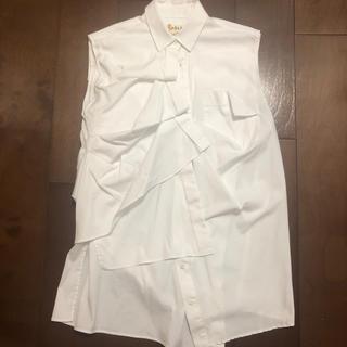 エンフォルド(ENFOLD)のENFOLD💙エンフォルド アシンメトリー ノースリーブシャツ 38(シャツ/ブラウス(半袖/袖なし))