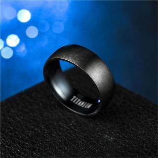 TITANIUMブラックラウンドリング 8mm幅 単品(リング(指輪))