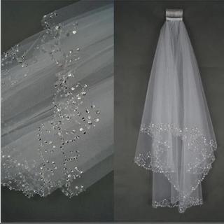 ウエディング ショート ベール キラキラ ラメ ブライダル ウエディング 結婚式(ヘッドドレス/ドレス)