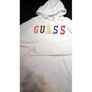 ゲス(GUESS)のguess パーカー 白 Mサイズ 海外正規店購入(パーカー)