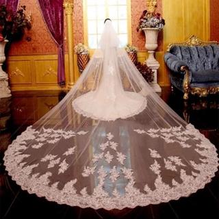 ロングベール レース 5メートル ブライダル ウエディング 結婚式(ヘッドドレス/ドレス)