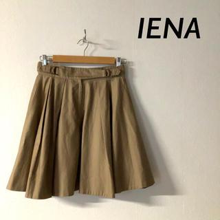 イエナ(IENA)の【良品】IENA  イエナ リネン混 ベルトフレアスカート キャメル(ひざ丈スカート)