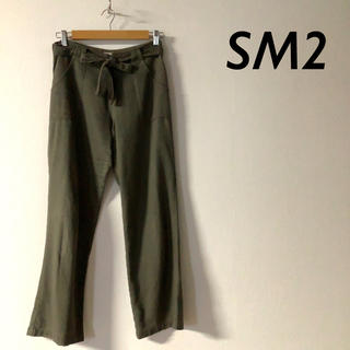 サマンサモスモス(SM2)のSM2 ウエストベルト ワイドパンツ カーキ(カジュアルパンツ)