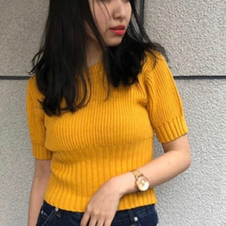 アンビー(ENVYM)の即日発送❗ENVYM パフスリーブコンパクト yellow(Tシャツ(半袖/袖なし))