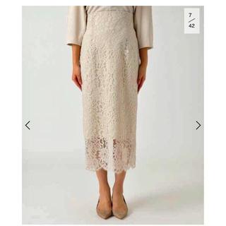 ノーブル(Noble)の【8月末までの限定価格】NOBLE リバーレーススカート(ひざ丈スカート)