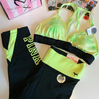 ヴィクトリアズシークレット(Victoria's Secret)の【新品】VS PINK スポーツ 2点セット イエロー(ヨガ)