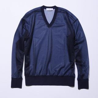 トーガ(TOGA)のTOGA VIRILS SHINY JERSEY V-NECK PULLOVER(Tシャツ/カットソー(七分/長袖))