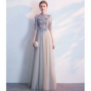 イブニングドレス グレー ロング エレガント 優雅なシルエット X29(ロングドレス)