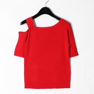 グレースコンチネンタル(GRACE CONTINENTAL)の新品☆グレースコンチネンタル☆ワンショルニットTOP☆レッド☆サイズ36(Tシャツ(半袖/袖なし))