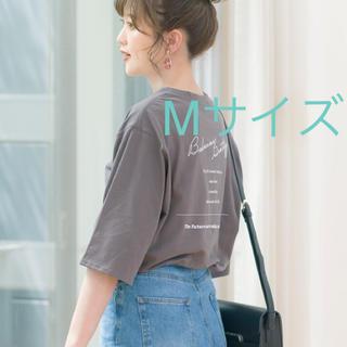 シマムラ(しまむら)のプチプラのあや バックプリントT シャツ 濃灰 Mサイズ 新品未使用タグ付(Tシャツ/カットソー(半袖/袖なし))