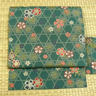 山藍摺色に籠目文様と桜 名古屋帯(帯)