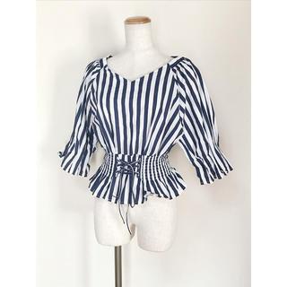ナチュラルクチュール(natural couture)のレースアップシャーリングストライプシャツ(シャツ/ブラウス(半袖/袖なし))