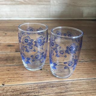トウヨウササキガラス(東洋佐々木ガラス)のレトロ 東洋佐々木硝子 青花柄グラス(グラス/カップ)