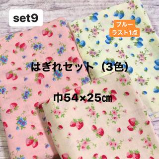 ダブルガーゼ 生地 はぎれセット(3色)いちご柄 YUWA 巾54×25㎝(生地/糸)