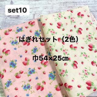 ダブルガーゼ 生地 はぎれセット(2色)いちご柄 YUWA 巾54×25㎝(生地/糸)