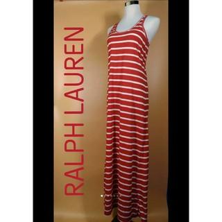 ラルフローレン(Ralph Lauren)のRALPH LAUREN ボーダーノースリーブワンピ 状態良好 美品 マキシ丈(ロングワンピース/マキシワンピース)