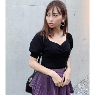 リエンダ(rienda)のrienda フロントギャザーニットトップ 黒 ブラック(カットソー(半袖/袖なし))