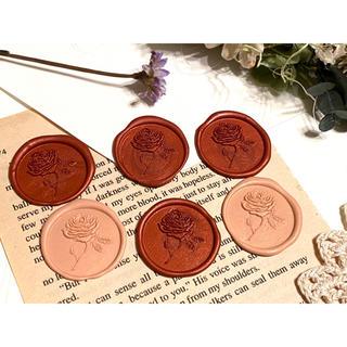 封蝋*antique rose*シーリングスタンプ**赤&ピンク6枚(カード/レター/ラッピング)