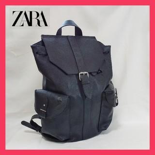 ZARA - ザラ ZARA MAN リュック ブラックサフィアーノ メンズ 黒 大容量