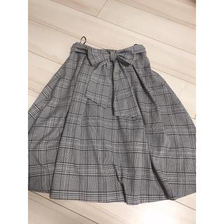 千鳥柄 千鳥チェック 膝丈スカート リボンベルト付き(ひざ丈スカート)
