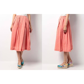 イッカ(ikka)のikka リネン混 フレアスカート ピンク オレンジ(ひざ丈スカート)
