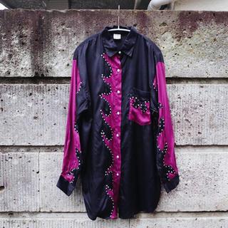 アメリヴィンテージ(Ameri VINTAGE)のVintage Sequins trimed satin shirt(シャツ)
